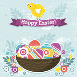 Background with easter eggs and one chick Stock Photography