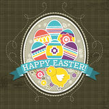Background with easter eggs and one chick, vector Stock Photos