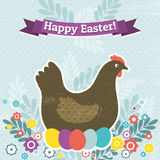 Background with easter eggs and one hen Royalty Free Stock Photos