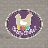 Background with easter eggs and one hen Stock Image