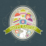 Background with easter eggs and one rabbit, vector. Illustration Stock Image