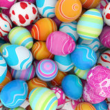 Background of easter eggs. Background of a pile of colorful easter eggs Royalty Free Stock Photos