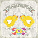Background with easter eggs and two chick, vector Royalty Free Stock Photos