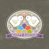 Background with easter eggs and two chick, vector Stock Photo