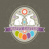 Background with easter eggs and two rabbit Royalty Free Stock Images