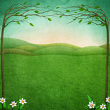 Background for  Easter. Festive Easter   greeting card or  poster with  green  landscape, rustic fence and flowers. Computer graphics Stock Images