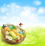 Background with Easter nest and eggs on spring background Stock Photography