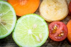 Mixed fruit lemon tomato banana carrot Stock Image