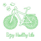 Background with eco bicycle. And text enjoy healthy life vector illustration