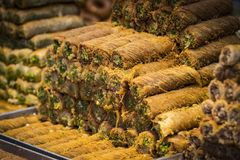 Background from ecologically baklava GMOs on the market. In Tel Aviv in Israel stock photography