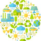 Background with ecology icons. Simple multicolor background with many icons on ecology theme Royalty Free Stock Images