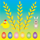 Background with egg and willow tree Royalty Free Stock Image