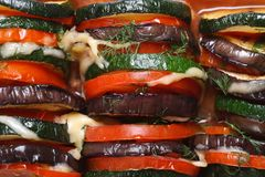Background of eggplant, zucchini and tomatoes baked Royalty Free Stock Photography