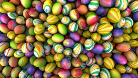 Background of eggs with bright patterns, holiday concept, 3d illustration royalty free illustration