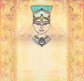 Background with Egyptian queen Stock Images