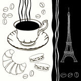 Background  of eiffel tower and traditional breakfast. Royalty Free Stock Photos