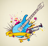 Background with electric guitar and trumpet Royalty Free Stock Photos