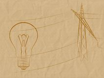 Background_electricity. The image of a lamp and support of an electricity transmission on the crumpled old paper Royalty Free Illustration