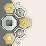 Background with electronic chip. Framed in metal surrounded by useful stylized pictogram royalty free illustration