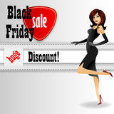 Background with elegant lady advertising Black Friday Stock Images