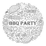 Background of elements of barbecue. Barbecue poster. BBQ party template frame with hand drawn meat, chicken, fish, sausage and tools. Vector hand drawn sketch Stock Image