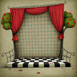 Background with elements of fairy tale Alice in Wonderland vector illustration