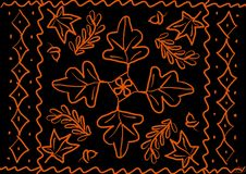 Background with elements in the form of leaves royalty free illustration