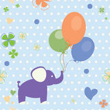 Background with elephant and balloons Royalty Free Stock Photo