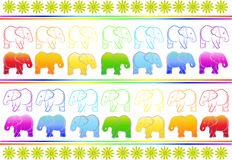 Background with elephants. And floral elements Royalty Free Stock Image