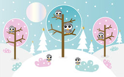 Background with elf and angels Royalty Free Stock Images
