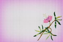 Background with embroidered pink flower Royalty Free Stock Photography