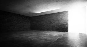 Background of an empty dark room, smoke and dust. Background of an empty dark room. Empty walls, lights, smoke, glow, rays royalty free stock photos