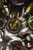 Background of empty wine glass bottles royalty free stock photo