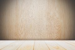 Background with empty wooden deck table over grunge cement wall, vintage, background, template, display stock images