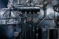 Background of engine room detail in a steam Stock Photo