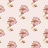 Background of envelopes and hearts. Seamless background consisting of envelopes and hearts Royalty Free Stock Photos