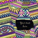 Background with ethnic  geometric elements. Original drawing tribal doddle ethnic pattern. Background with geometric elements Stock Image