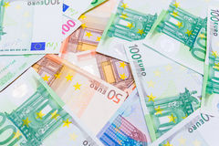 Background of Euro bank notes. stock photo