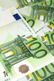 Background of euro banknotes. Background of one hundred euro banknotes royalty free stock images