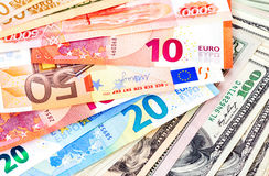 Background from euro banknotes and american dollars Stock Photography