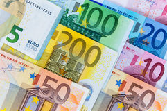 Background of euro banknotes. Closeup of euro banknotes forming a money background Royalty Free Stock Photography