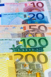 Background of euro banknotes. Closeup of euro banknotes forming a money background Stock Images
