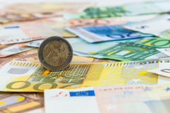 Background of euro banknotes and coins Stock Images