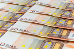 Background of 50 euro banknotes Royalty Free Stock Photography