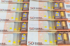 Background of 50 euro banknotes Royalty Free Stock Image