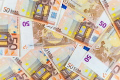 Background of 50 euro banknotes Royalty Free Stock Images