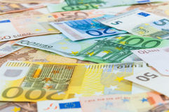 Background of euro banknotes. Seamless background made of euro banknotes - pile of money Royalty Free Stock Images