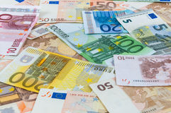 Background of euro banknotes. Seamless background made of euro banknotes - pile of money Stock Image