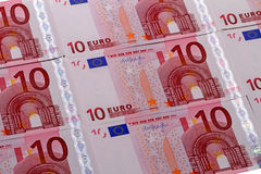 Background of 10 euro banknotes Stock Images