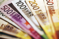 Background of euro bills. Stock Photos